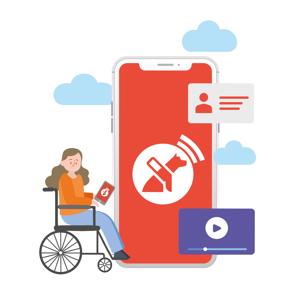 Woman in wheelchair uses the Lazarillo app to recieve a news post.