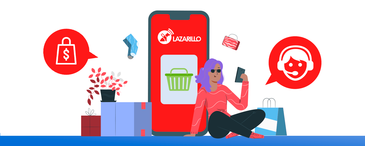 a women that is leaning on a smartphone with Lazarillo marketplace