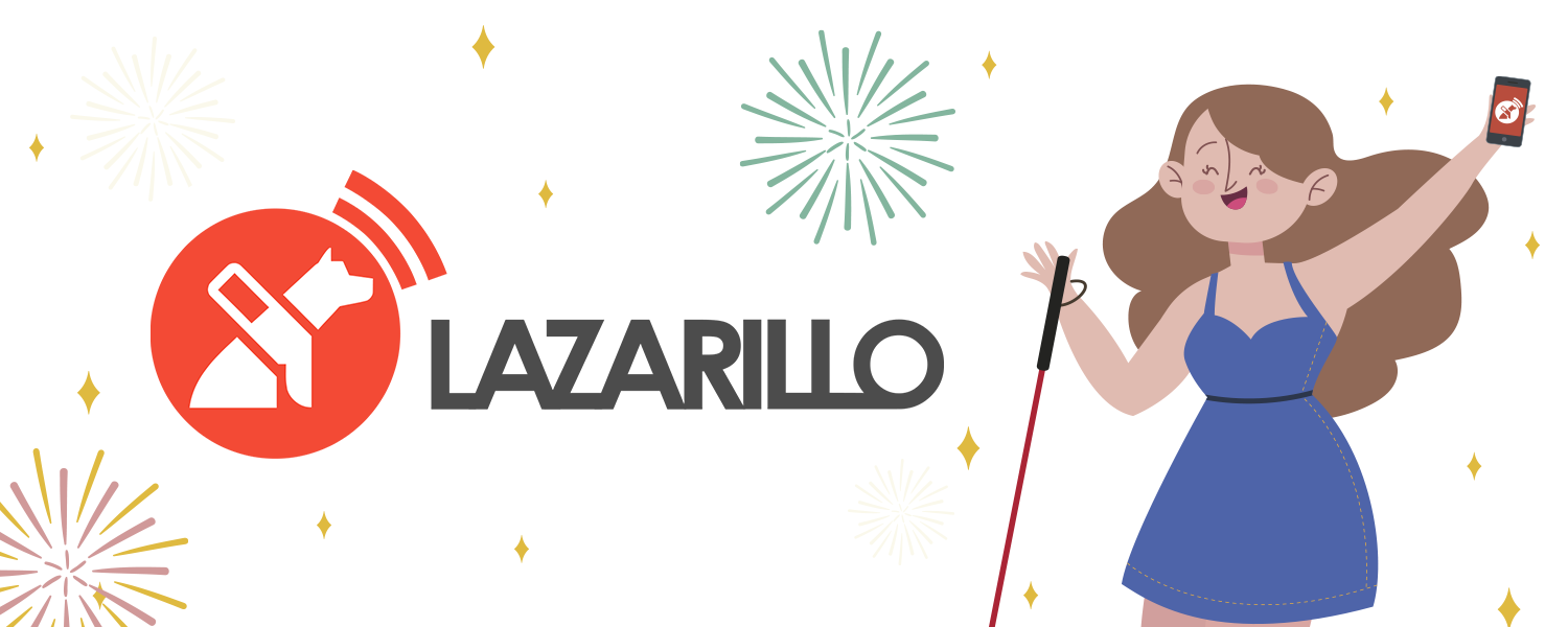 A girl with the Lazarillo app happy celebrating the new year with fireworks and the Lazarillo Logo