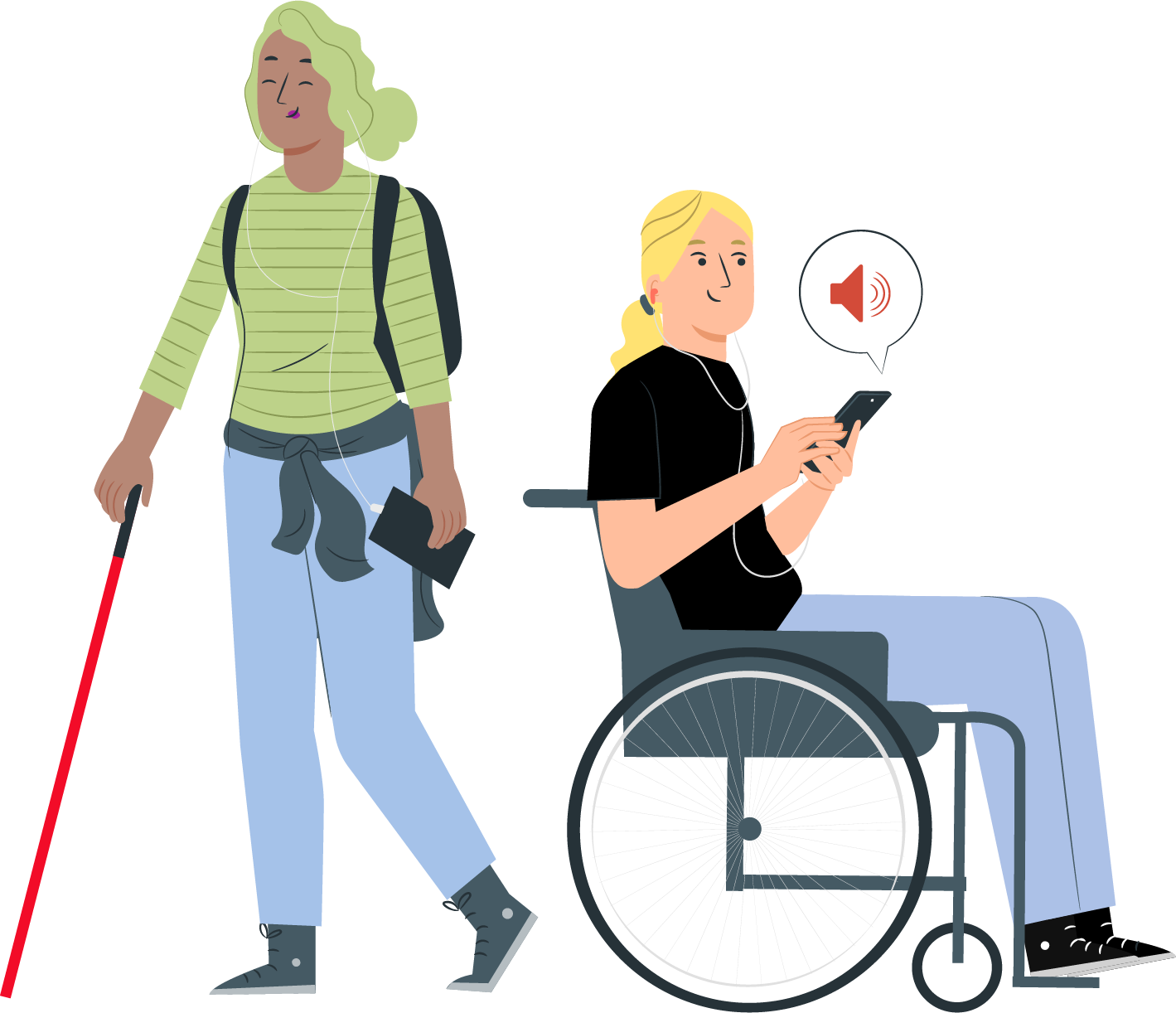 A woman using a walking cane stands beside a woman using a wheelchair