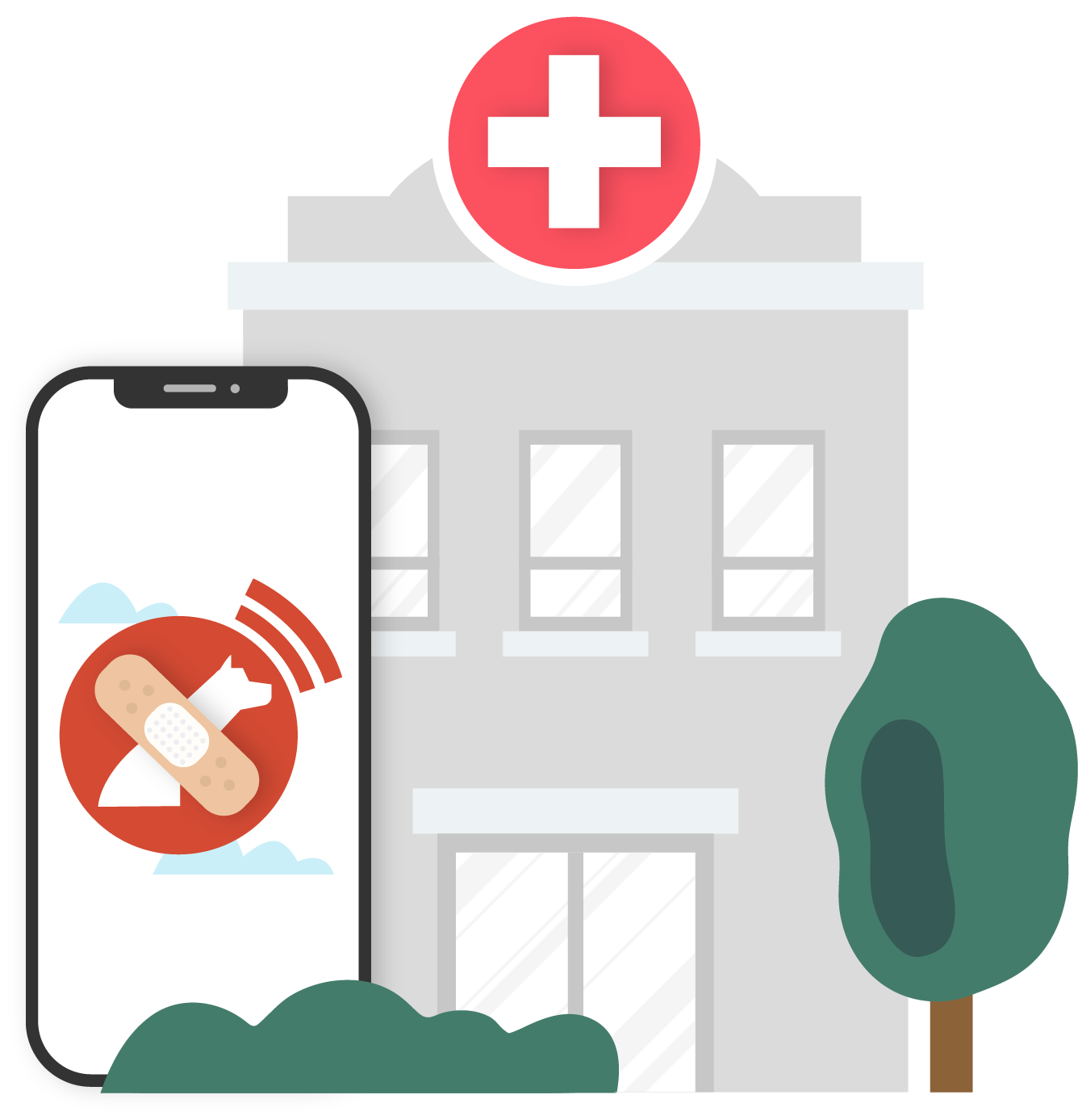 A healthcare facility next to a phone using the Lazarillo App
