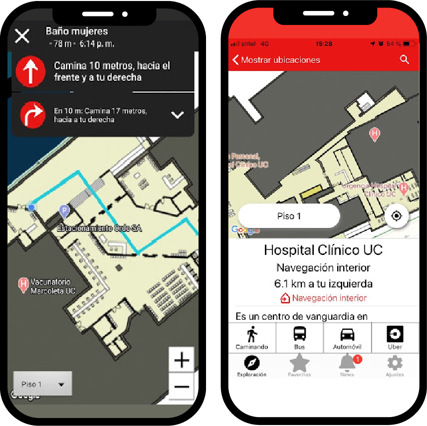phone mockups showing how the lazarillo app maps a hospital
