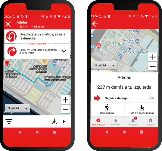phone mockups showing how the lazarillo app maps a shopping center