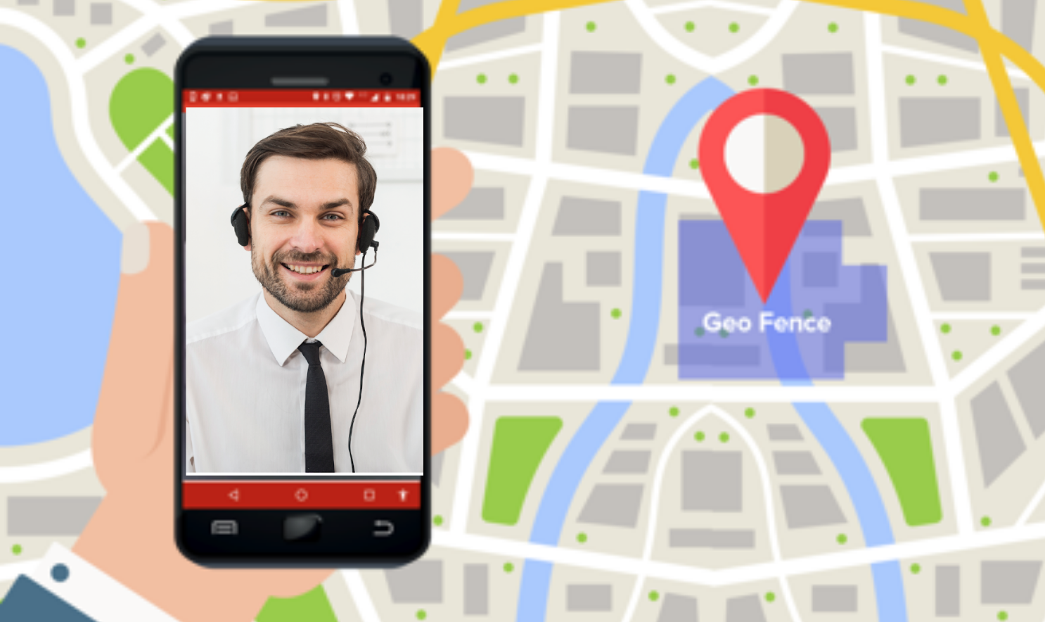 A graphic showing a virtual assistant through the Lazarillo app, next to a map of a shopping center