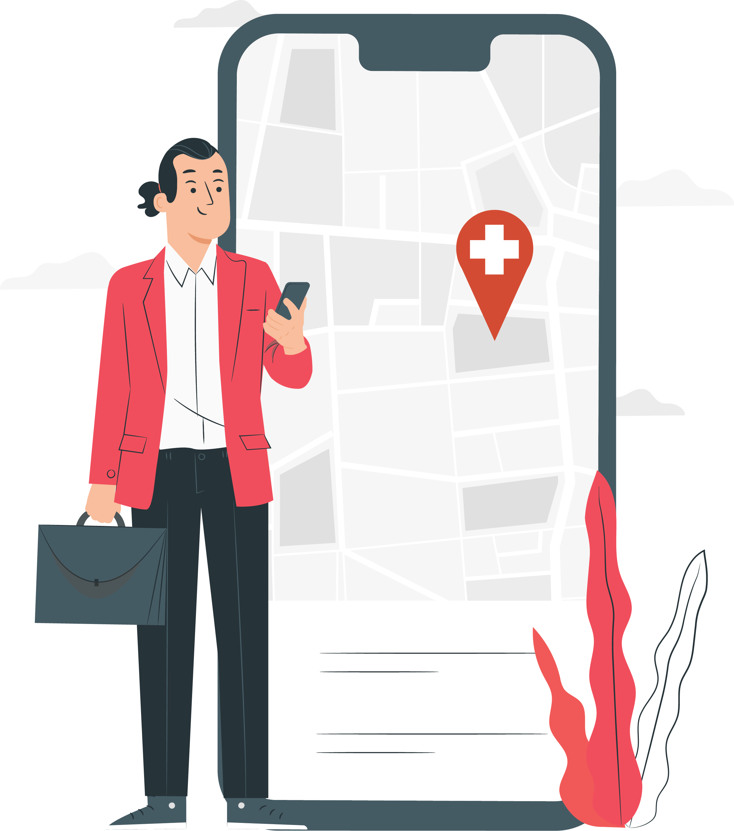A man uses the Lazarillo app to navigate to a hospital.