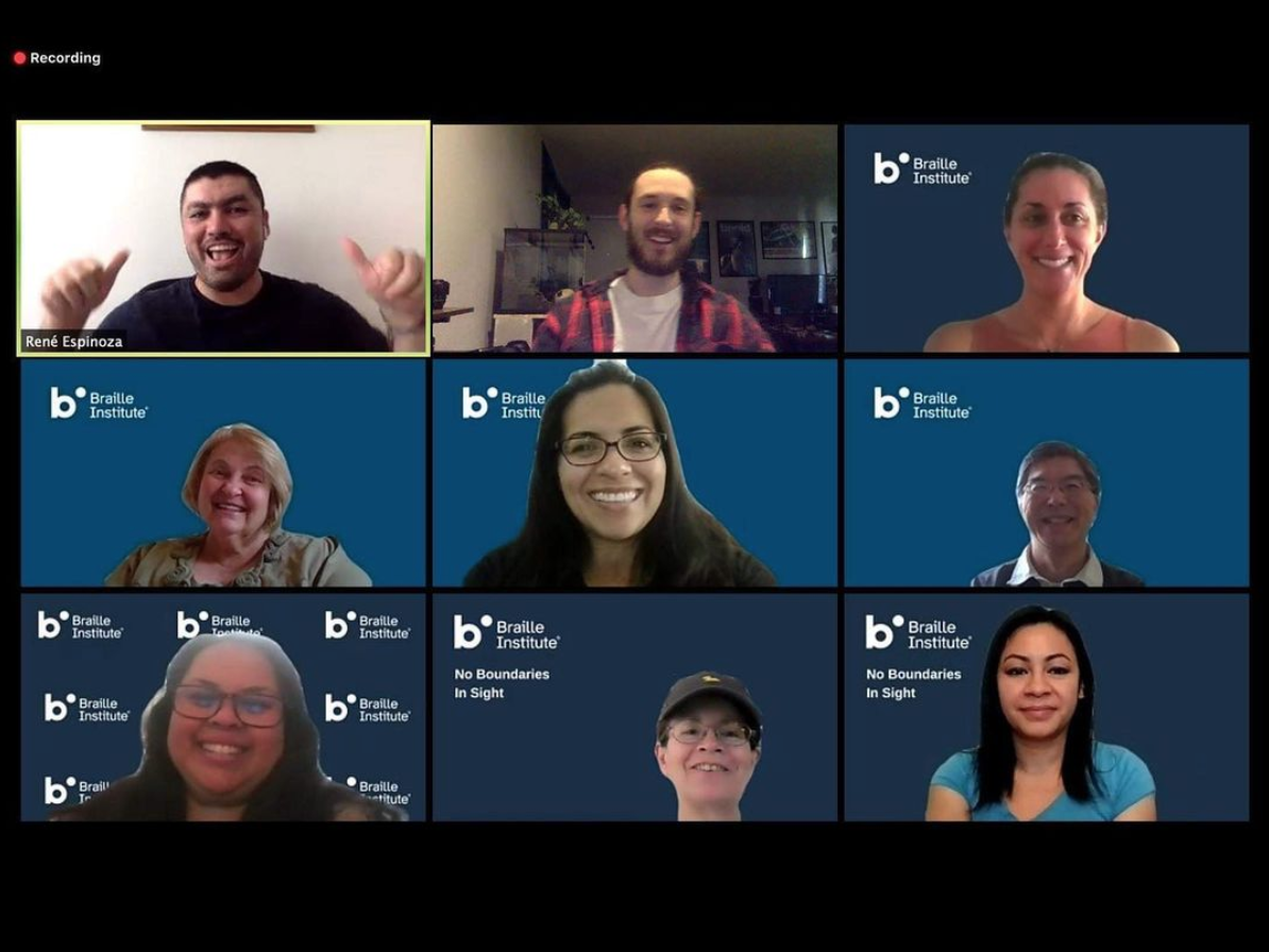 Screenshot photo from Zoom workshop with the Braille Institute.
