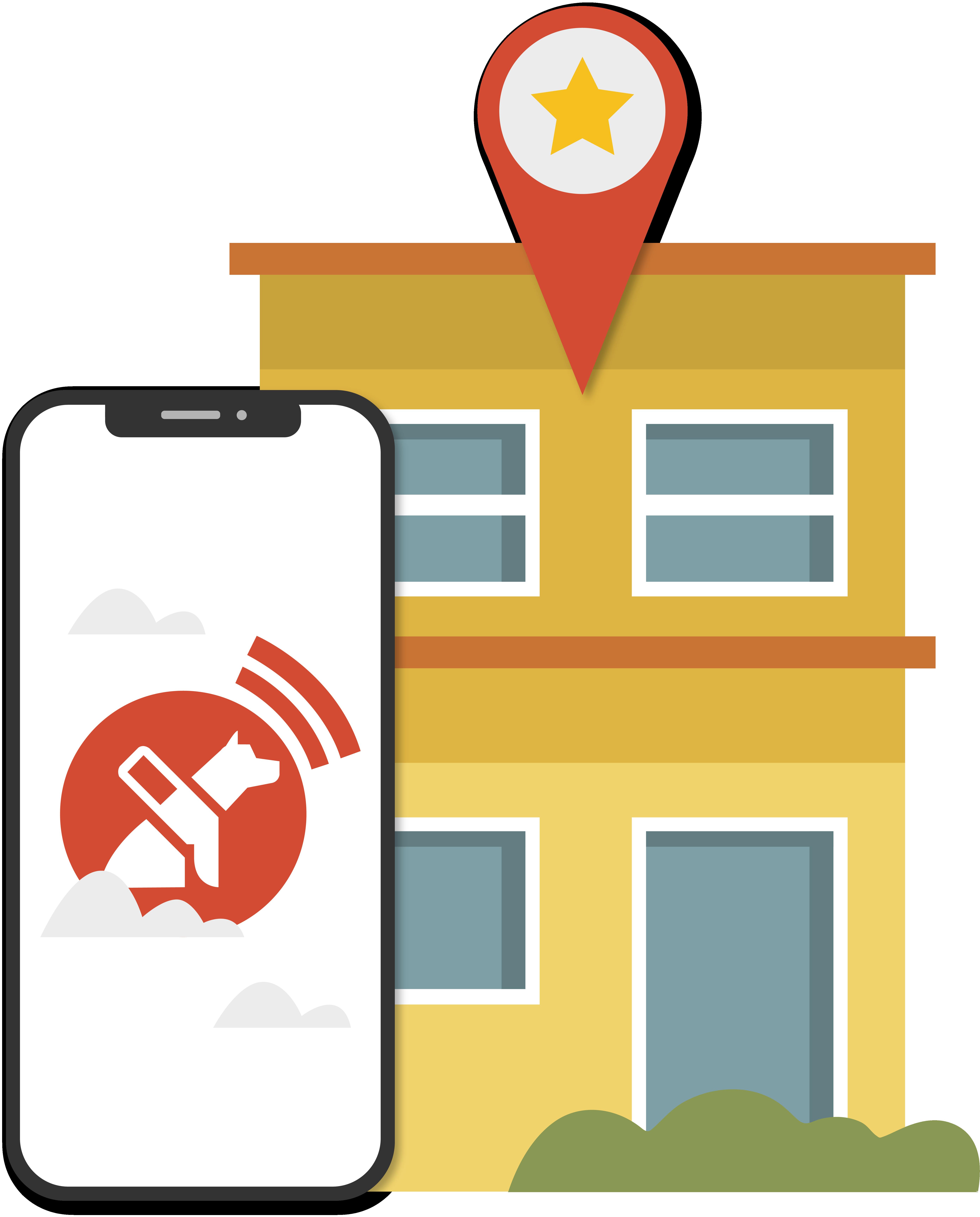 Un teléfono que muestra la aplicación Lazarillo está al lado de un edificio de apartamentos.
