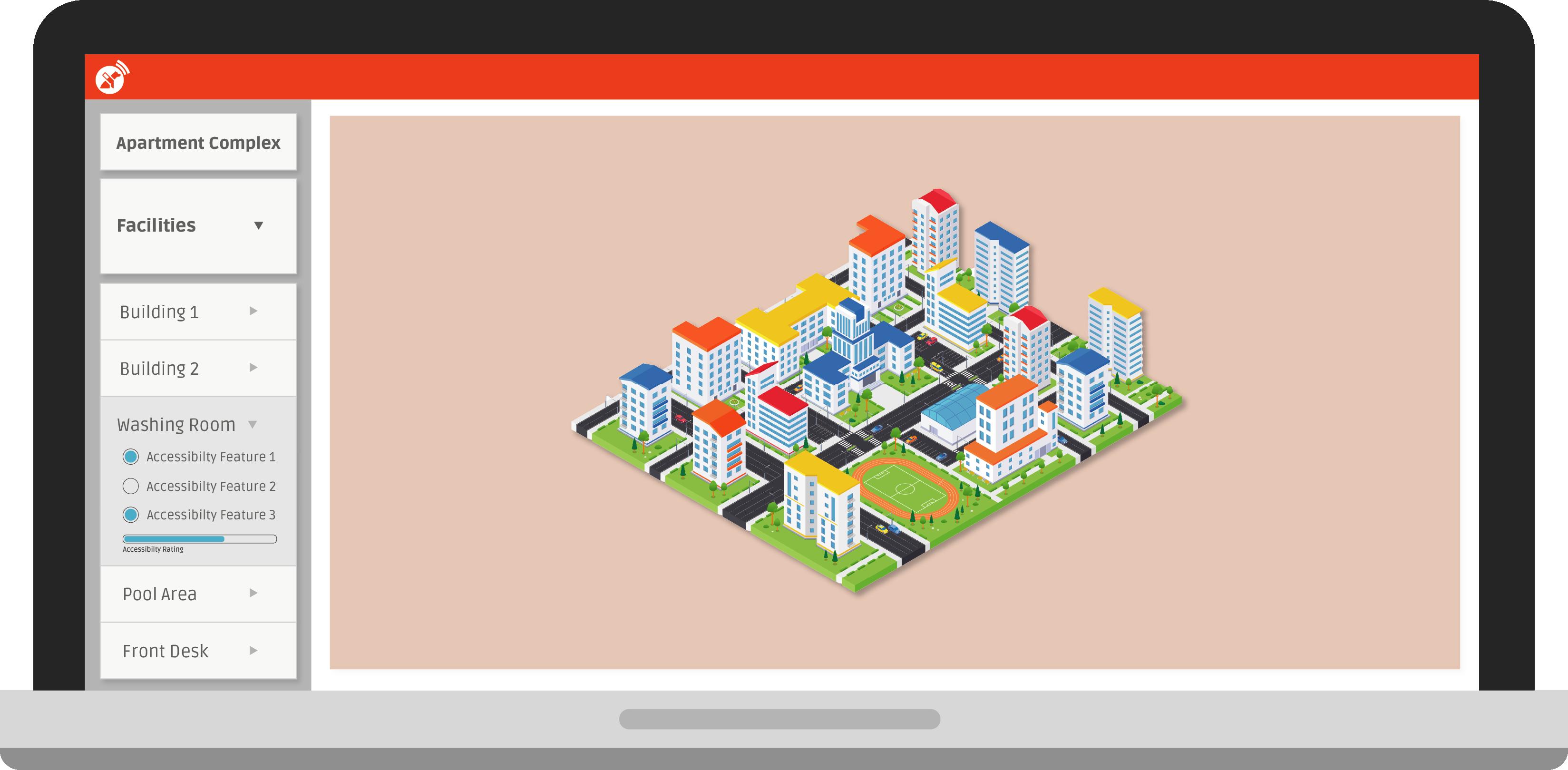 Pantalla de computadora que muestra un mapa detallado de un complejo de apartamentos.