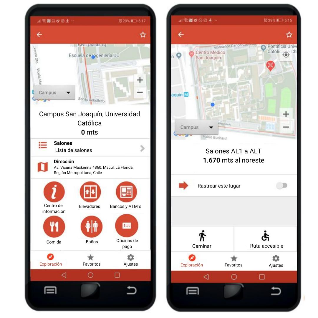 Dos maquetas de teléfonos que utilizan la aplicación Lazarillo muestran la función de navegación en acción.