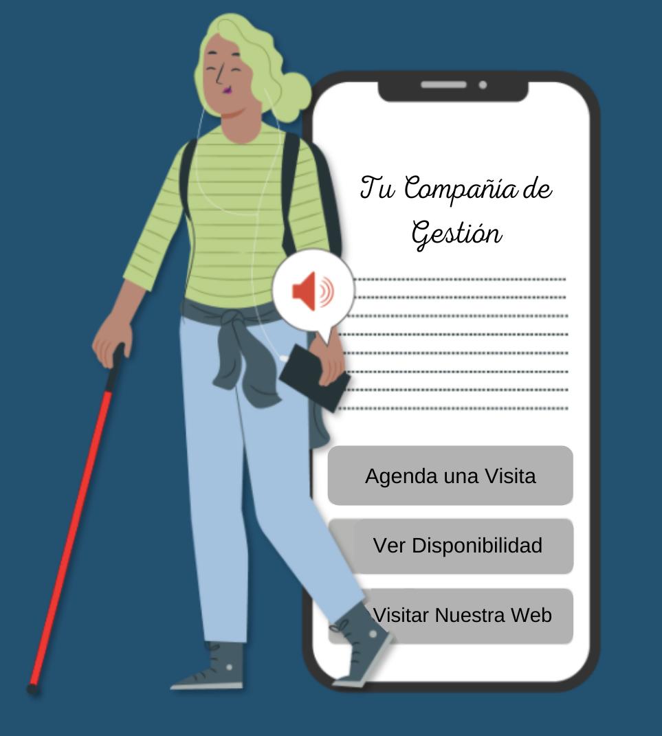 Mujer ciega utiliza la app Lazarillo para ver un apartamento